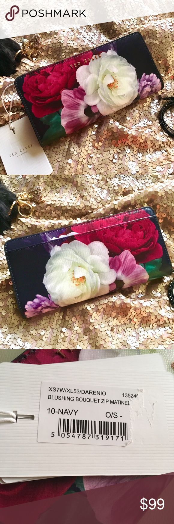 NWT Ted Baker bouquet zip matinee wallet New listing! NWT Ted Baker blushing bouquet navy and floral zip matinee wallet, with beautiful rose gold hardware. Photos don't do this wallet justice! Ted Baker Bags Wallets