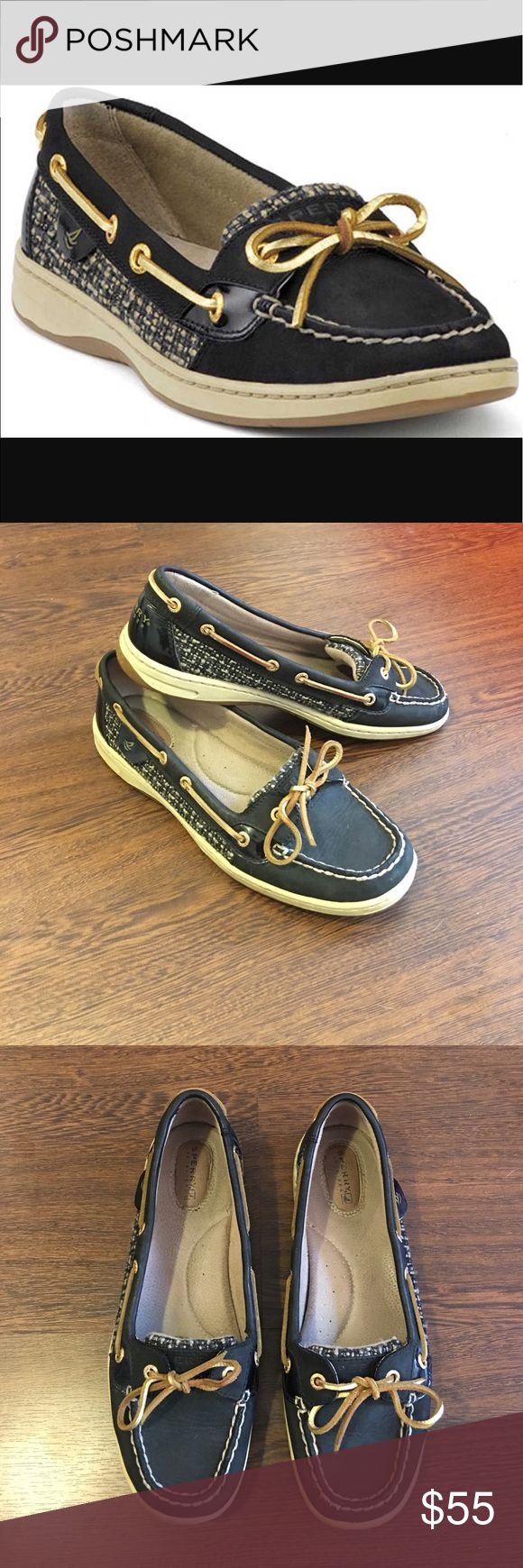 SALE Sperry Top-Sider Black Boucle Angelfish Sperry Top-Sider Black Boucle Angelfish Boat Shoes. Women's Size 9.5 Deck Slip On Shoes. Perfect Spring And Summer Time Shoes. Lightly Worn. In Great Pre Owned Condition. Sperry Top-Sider Shoes