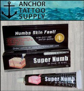 Super Numb maximum strength anesthetic tattoo cream. Super Numbs activates fast and can be used for tattooing, body piercing, body waxing, bikini waxing, laser hair removal, and cosmetic tattooing.