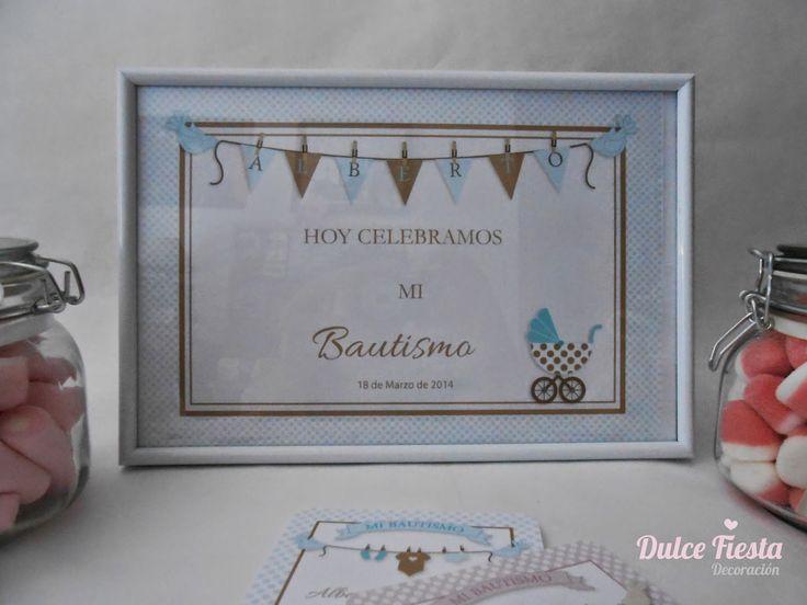 Dulce Fiesta Decoración: Kit cartel de bienvenida y recordatorios bautizo niño