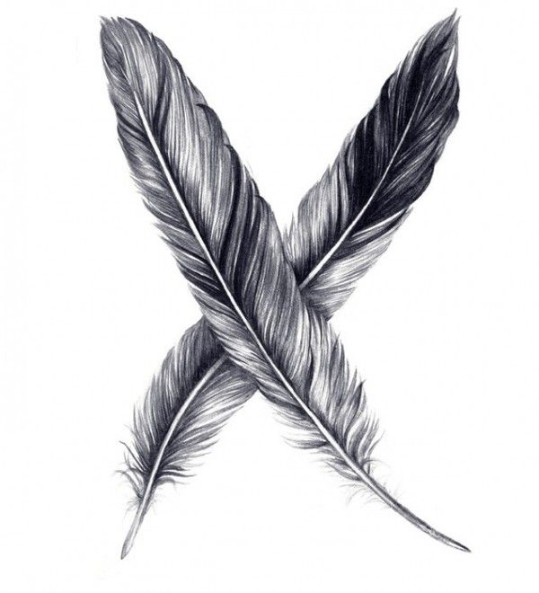 "Not sure if I like the ""X"", but still really beautiful feathers."