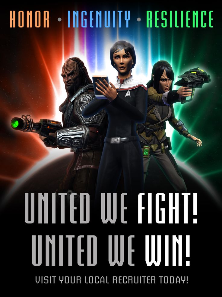 "All of the recruitment posters I made for Star Trek Online's ""Delta Recruit"" event."