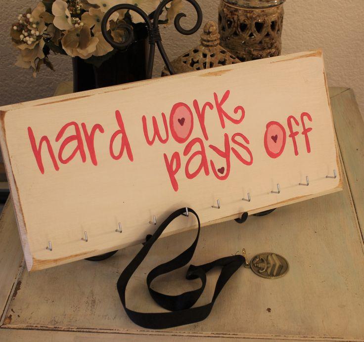 hard work pays off medal holder sign, medal display sign, award display, medal sign, gymnastics medal display by VintageMoonStudios on Etsy