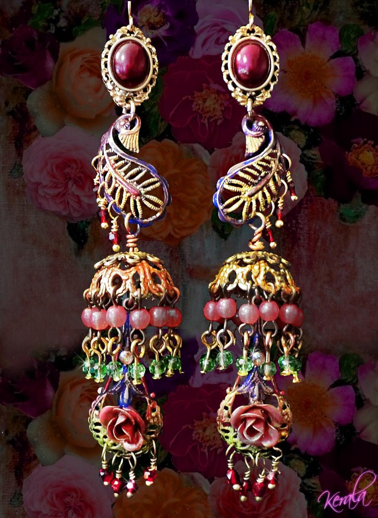 Exotic Paisley Earrings, Bohemian Ethnic, Beaded Jhumka, Colorful Hand-Painted Jewelry, East Indian Bollywood. $38,00, via Etsy.