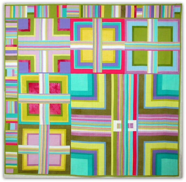 Cozy Mel,  hand dyed and commercial cottons, machine pieced, machine quilted, as you go. 74.5x76.5""