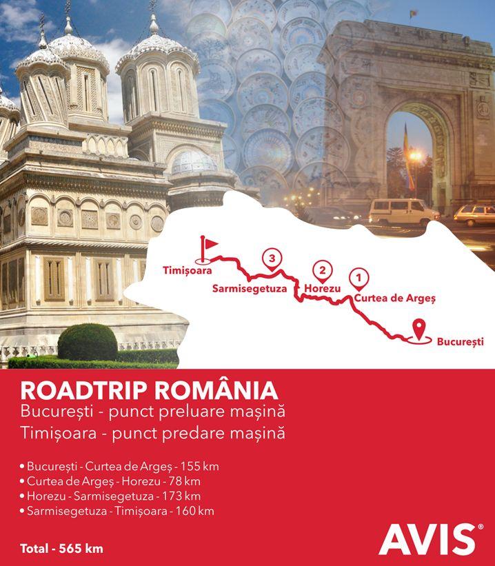 Vă recomandăm un traseu cu peisaje mioritice care vă vor tăia răsuflarea, bogat în atracții culturale și istorice: București – Curtea de Argeș – Horezu – Sarmisegetuza – Timișoara!  www.avis.ro
