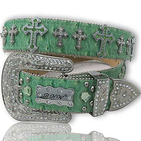 Green Belt with Crosses Women's Belt  The Western Boutique offers a wide selection of beautiful Texas style  Cowgirl Bling Belts. Made of genuine leather and cowhide.    These western belts feature Rhinestones, Crystals, Crosses, Conchos, and Pistols.  http://thewesternboutique.com/rhinestone-cowgirl-bling-western-belts.html