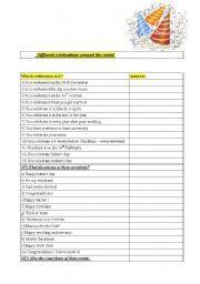 English worksheet: Celebrations aroud the world