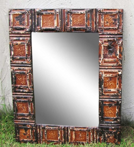 Mirror With Frame Made Of Pieces Of Antique Tin Ceiling