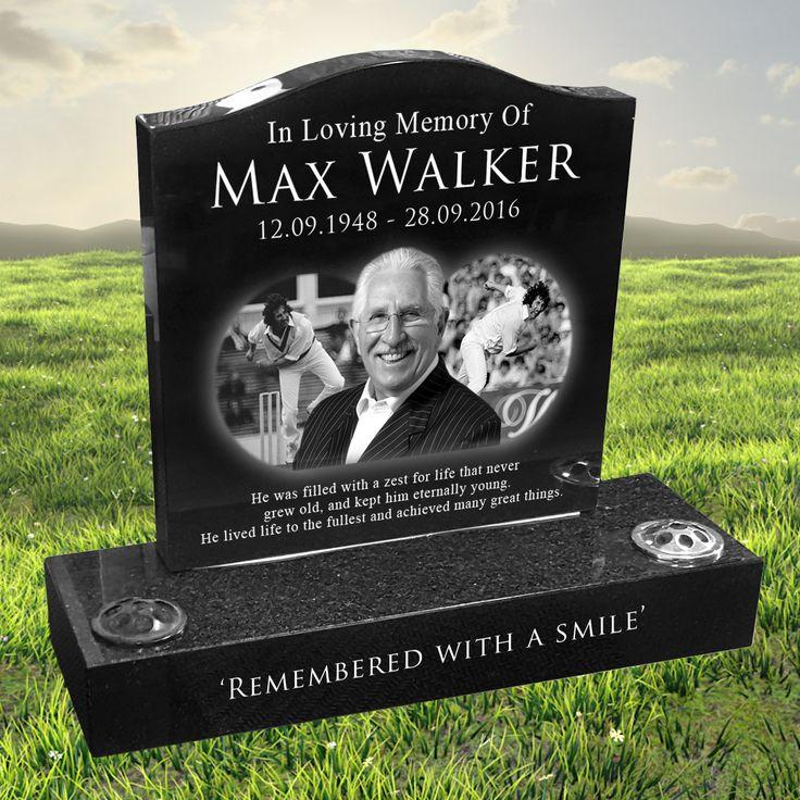 Max Walker laser etched black granite headstone designed by Forever Shining