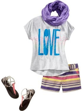 Girls Clothes: Tween Scene | Old Navy. I love the scarf with the top, and the shorts with the sandals. Too cute!!