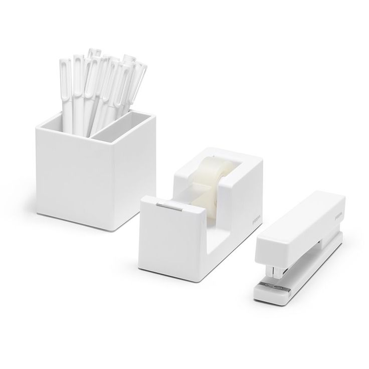 White starter set cool office supplies poppin home Cool white desk
