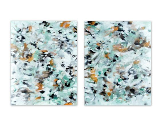 """Original Abstract Expressionist diptych, set of two acrylic paintings on 16"""" x 20"""" canvases. """"October"""" by Jessica Torrant, 2016."""