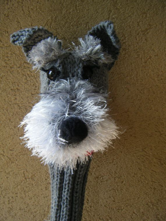 Made to order Hand knit Schnauzer golf club cover | Golf ...