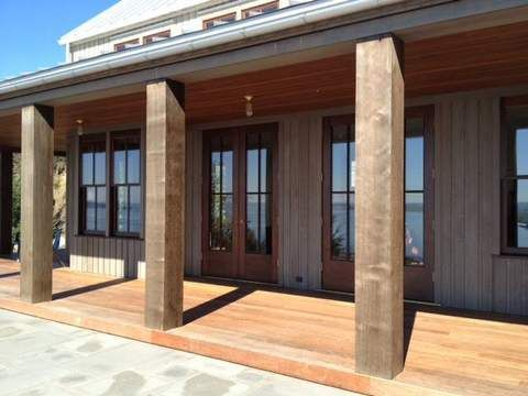 Clear, Western Red Cedar Beams are stunning on this entry