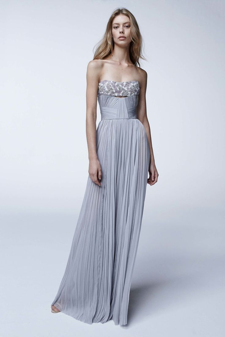 J. Mendel | Spring 2017 Ready-to-Wear | 23 Grey pleated strapless maxi dress