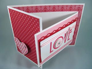 This card has a special fold; it's called a Joy Fold card.  Basically, it's a card inside a card. Here is great tutorial, with video, on the joy fold card.