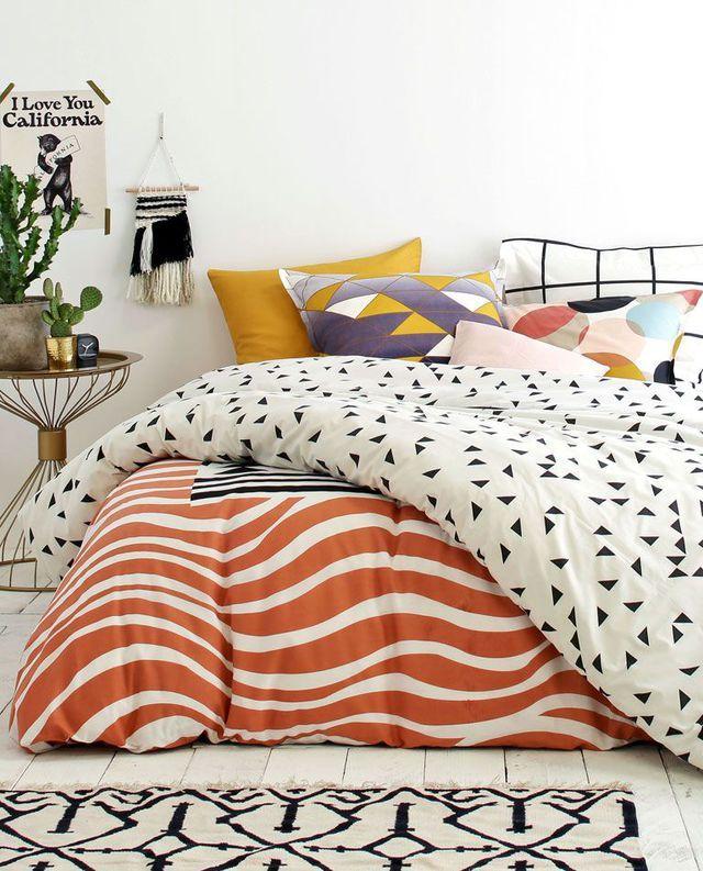 Le linge de lit se pare de motifs graphiques !