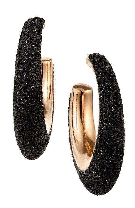 Nigel Milne | Pesavento Polvere di Sogni hoop earrings of sterling silver, 18kt rose gold, and black textured enamel