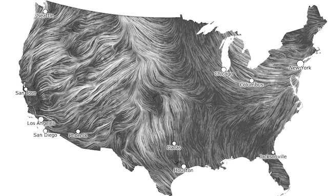 Wind Map by Fernanda Viégas and Martin Wattenberg is updated hourly   from the National Weather Service's forecast database. Wind information is portrayed as white and grey strands, almost like sand or rivulets of mercury. Check out the unbelievable streaming images of North East today! http://hint.fm/wind/#  via mashable #Wind_Map