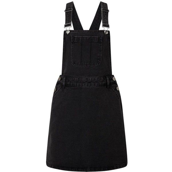Lipsy Denim Pinafore Dress ($46) ❤ liked on Polyvore featuring dresses, overalls, skirts, denim dress, lipsy, pinafore dresses, lipsy dresses and pinny dress