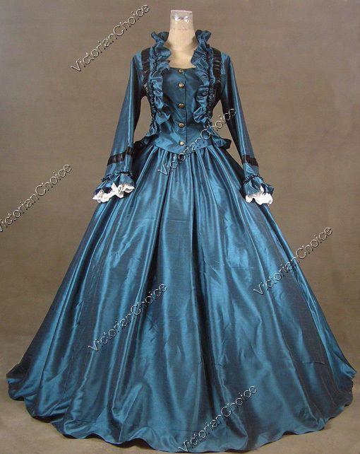 Civil War Victorian Ball Gown Formal Period Dress