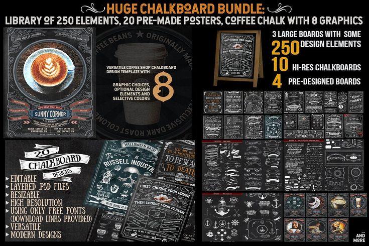 MEGA Chalkboard Bundle #chalkboard #chalkboardmenus #chalkboardflyer #chalks #chalk