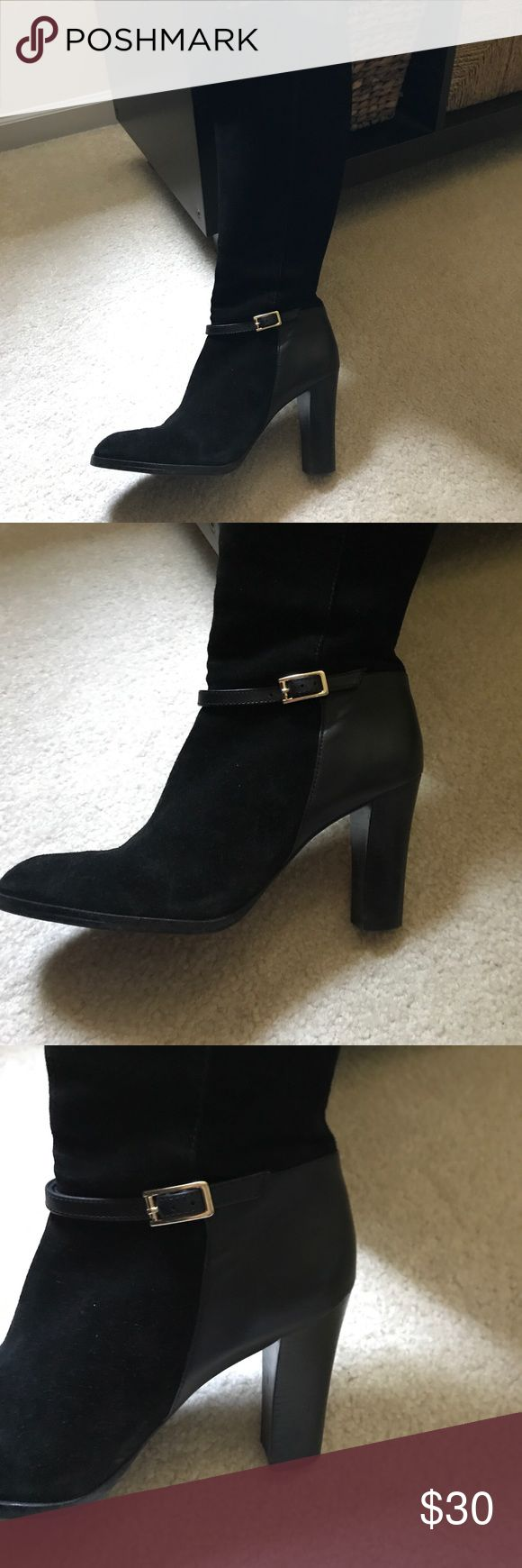 Beautiful black suede women's boots Slightly chunky 3 3/4 heel with beautiful gold side buckle.   Seldom worn.   Includes shoe trees to maintain beautiful shape. Banana Republic Shoes Heeled Boots