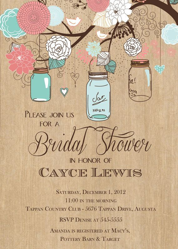 hanging jars in.tree invitation | ... Mason Jar Tree with Woodgrain Bridal Shower Invitation - Printable