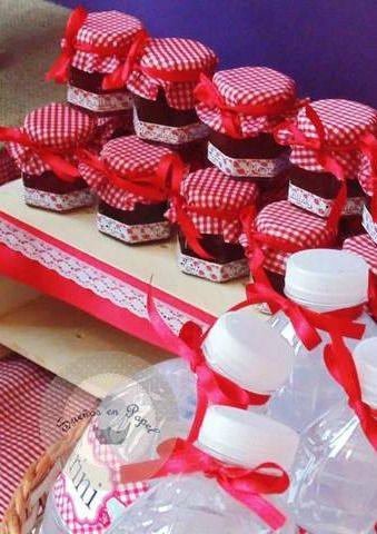 Jars of jam favors at a Little Red Riding Hood girl birthday party!  See more party ideas at CatchMyParty.com!