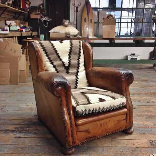 Newly refurbished 1930's French chair upholstered with 1930's navajo rug.