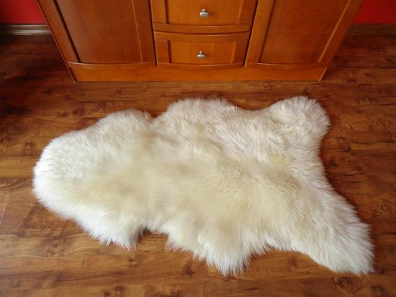 GIANT SHEEPSKIN White Throw Genuine leather by TrendingSlippers, $54.99
