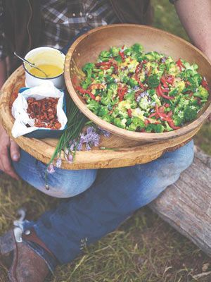 One of the cowgirls I met said she struggled for ideas at mealtimes because the men weren't overly keen on eating veg. However, she did say one of the things they would eat was broccoli salad. Every diner and restaurant in Cody seemed to have one on the menu, so I created this version, which is absolutely delicious and hits all the right spots. When I cooked it for a group of ranchers there was none left by the end of the night. Success!
