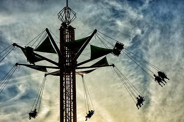 Riding the swing ride near sunset at the 2013 Ohio State Fair in Columbus, Ohio.