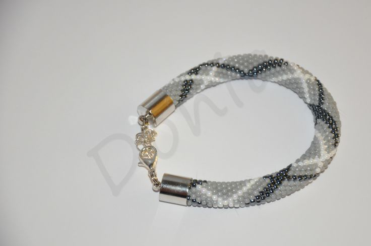 Bead Crochet Bracelet - stylish gray