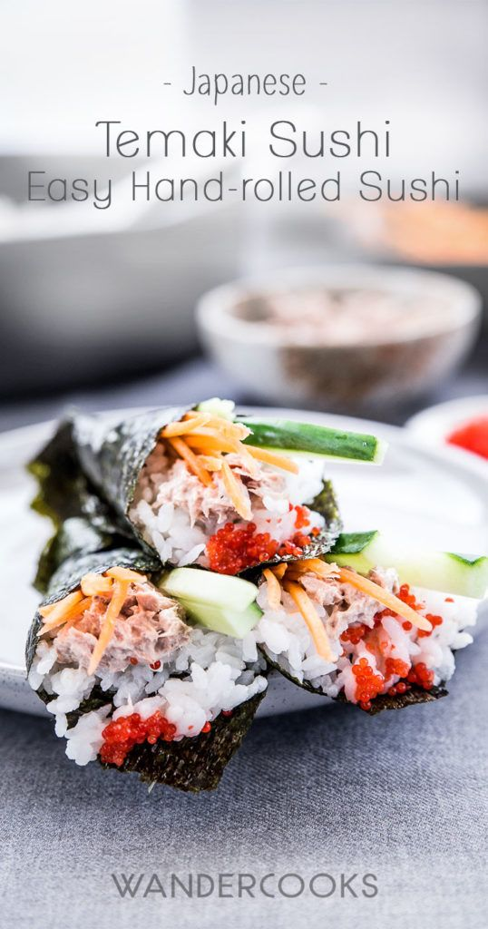 """Temaki sushi is a fun and easy way to make sushi at home. Also known as """"hand-rolled"""" sushi, it's made by wrapping nori seaweed around sushi rice and your favourite fillings to form a cone shape.   Wandercooks.com"""