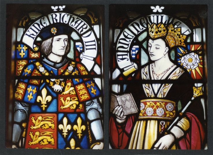 Stained glass window detail (at Cardiff Castle, Wales) of Richard III and Anne Neville -one of the most powerful women in England at the time (1472-1483), daughter to the Duke of Warwick, pawns/players in the War of the Roses, the legendary battle for the throne between houses York and Lancaster)