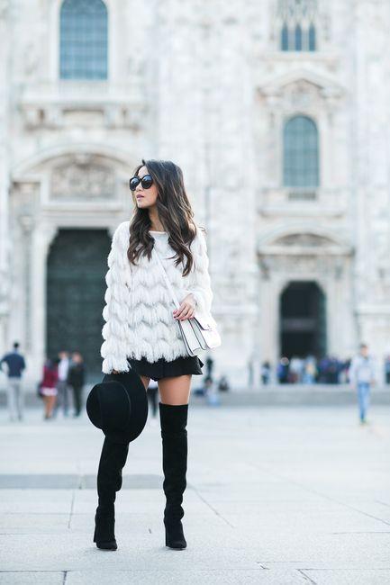 Milan :: Fringe top & White bag :: Outfit :: Top :: Storets Bottom :: Line & Dot Shoes :: Dior Bag :: Celine Accessories :: Karen Walker sunglasses, Janessa Leone hat Published: September 28, 201