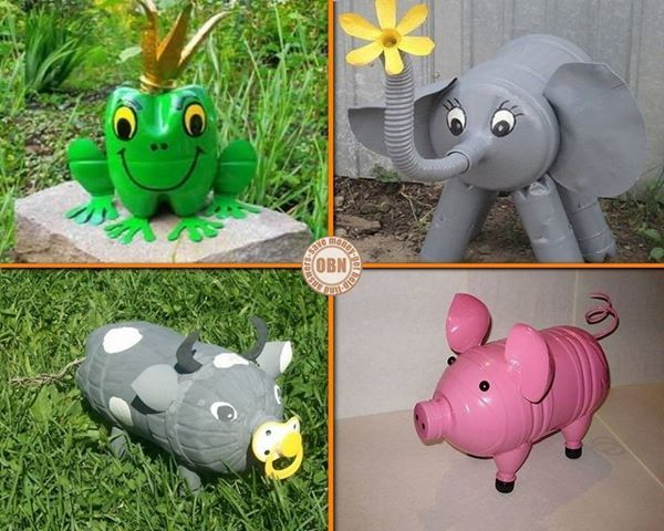 Love these plastic bottle crafty ideas. This would be great to do with the family and incorporate it into the family outdoors....put the pigs next to the garden area...the elephant and frog would go good by the pool garden and the frog could also be by the pond. They'll enjoy it more as they walk pass/through it.
