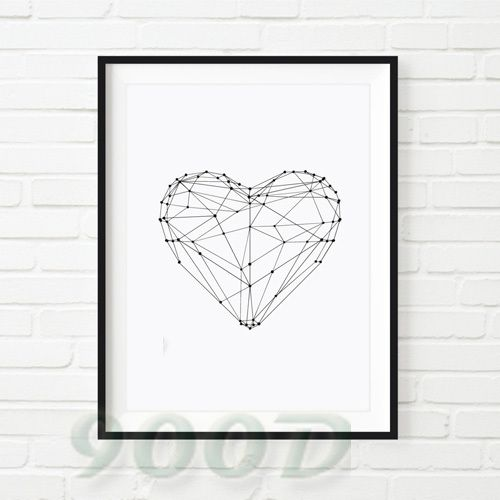 Heart Shape Canvas Art Print, Wall Pictures Home Decoration Print, Painting Poster Frame not include FA153