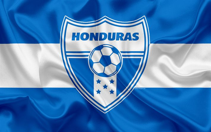 Download wallpapers Honduras national football team, logo, emblem, flag Honduras, football federation, World Championship, football, silk texture