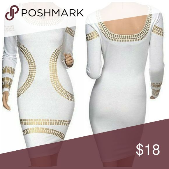 BANDAGE DRESS WITH GOLD RESIN THIS CUTE LONG SLEEVE BANDAGE DRESS WITH GOLD RESIN COMES IN 3 DIFFERENT COLORS IVORY, BLUE, BURGUNDY. THIS LOOK IS VERSATILE AND CAN BE WORN ANYWHERE. Dresses Mini