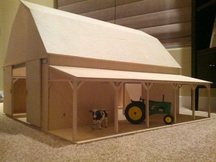 Custom Built Toy Barn by CustomBarns on Etsy, $275.00 Made to scale- Handmade Wood Toy Barn! These look awesome! #WoodenToyBarn #ToyBarn #WoodBarn #KidsToy #Tractor #Tractors #Farmers #Farm #Handmade
