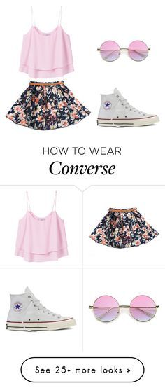 """""""Summer Outfit"""" by amari-lashae on Polyvore featuring MANGO, Converse and Floralskirts"""
