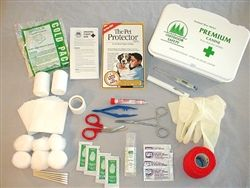 The Premium Canine First Aid Kit is a 46 piece kit containing high quality first aid supplies. These include locking hemostat forceps, bandages, ointments, eye wash, digital thermometer, instant cold pack and much more. https://www.moorepet.com/Premium-Canine-First-Aid-Kit-p/909.htm