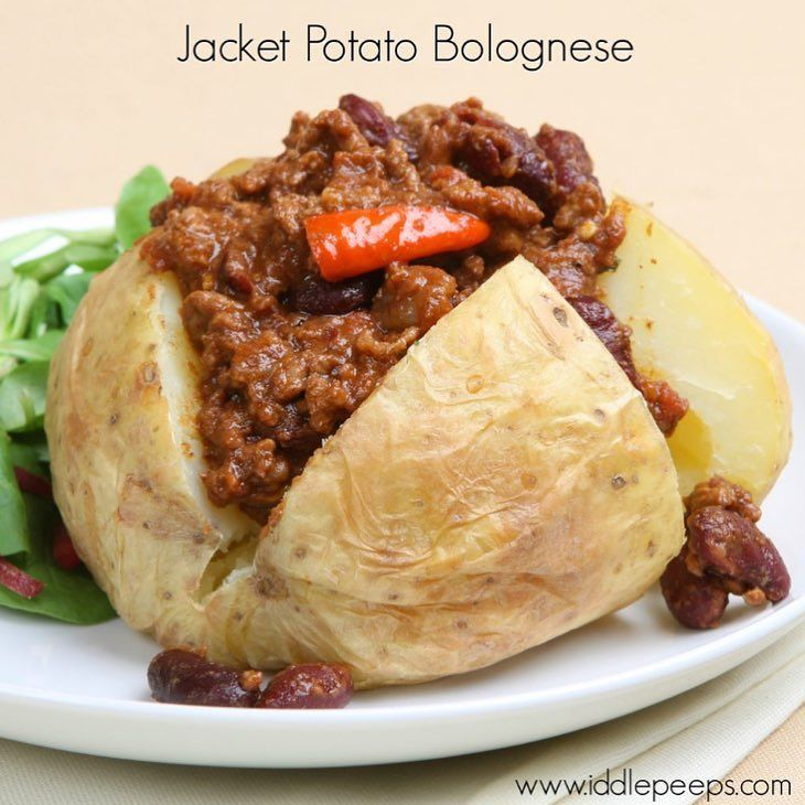 j is for... JACKET POTATO BOLOGNESE Baked potato (also known as jacket potato) with its skin on is the healthiest way to eat potato.  Little ones are often well versed in potato chips so this is often a relatively easy progression as far as vegetables go.  The great thing about potatoes is that you can top them with all sorts of delicious and nutritious sauces that children often already like.  If all else fails on the sauce front some butter and cheese normally goes down well too…