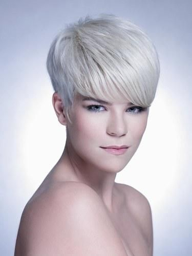 Dope White Gray Silver Pixie Bowl Cut Tapered Sides Hair Style