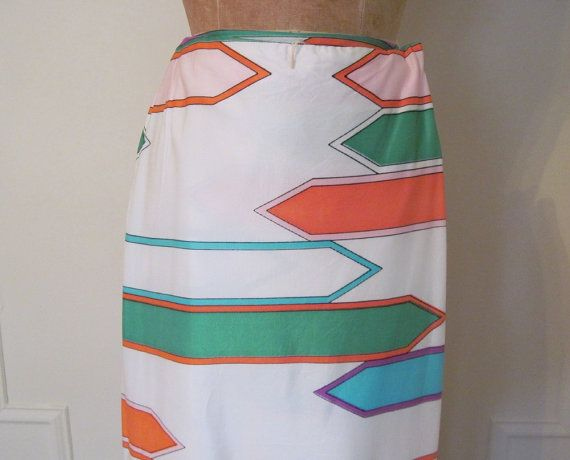 vintage 60s MOD Psychedelic Leslie Fay Wrap Skirt by FASHIONRERUN, $34.00