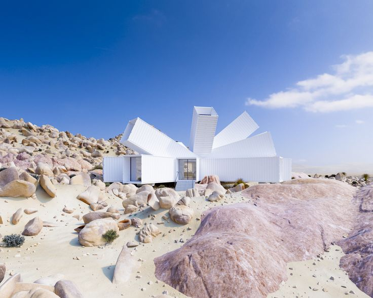 Gallery of Shipping Container Home by Whitaker Studio Blooms Like a Desert Flower from Rocky Joshua Tree Site - 2
