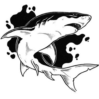Tatuagem maori de grande tubarão branco